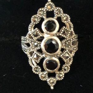 Jewelry - Vintage 925 Silver Ring with Marcasite and Onyx